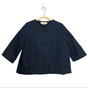 Marni Cape Navy Blue Crop Button Up Jacket Coat
